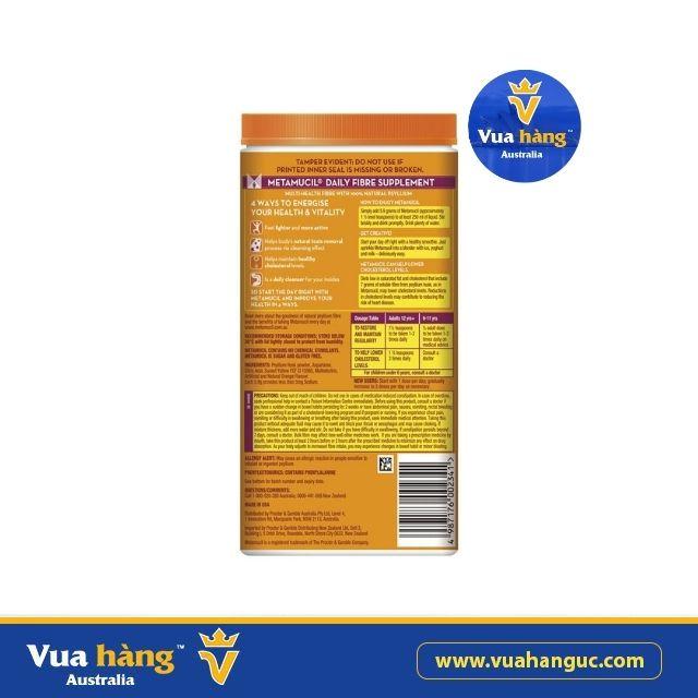 Bột giảm cân, bổ sung chất xơ vị cam Metamucil - 114 liều 673g